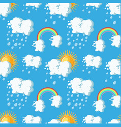 Summer weather seamless pattern with sun clouds vector