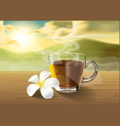 Tea and plumeria on wooden table on the morning vector