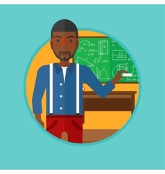 Teacher in front of blackboard with chalk in hand vector