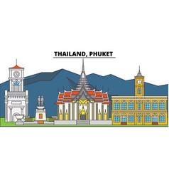 Thailand phuket city skyline architecture vector