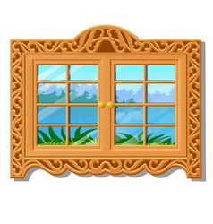 the wooden window overlooking of the forest in vector image