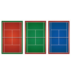 Three different tennis courts vector