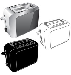 Toaster flat icons and 3d model vector