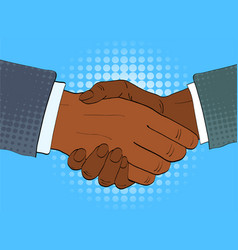 two afro american businessmen shake hands vector image