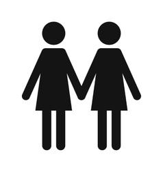 Two women black simple icon vector