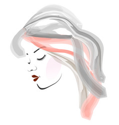watercolor girl portrait- side view of a young wom vector image