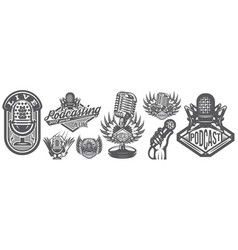 with set different microphones vector image