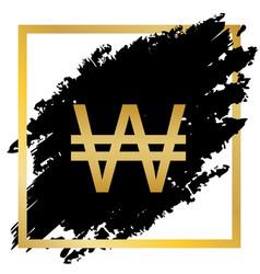 Won sign golden icon at black spot inside vector
