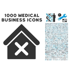 Wrong house icon with 1000 medical business vector