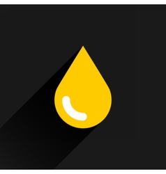 Yellow color drop icon with black long shadow vector