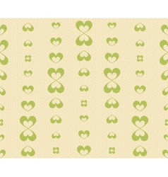 Retro Seamless Pattern with Green Hearts vector image vector image