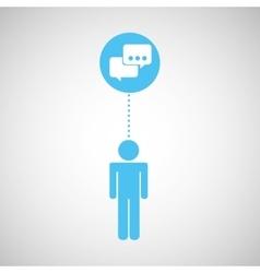 silhouette man bubble speech social network design vector image vector image