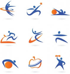 sport and fitness silhouette vector image vector image