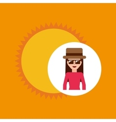 toursit female hat sunglasses sunny vector image vector image