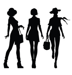 black silhouettes of beautiful women vector image