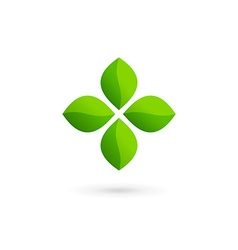 Cross plus eco leaves medical logo icon design vector image vector image