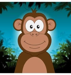 Cute cartoon monkey in front of jungle background vector image vector image