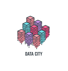 data city skyscrapers vector image vector image