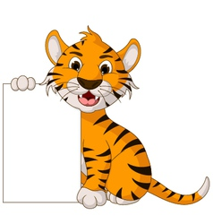 funny tiger cartoon posing with blank sign vector image vector image