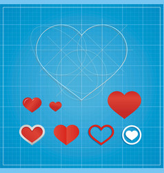 Holiday card hearts on blueprint paper vector