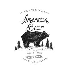 Old label with bear vector image vector image