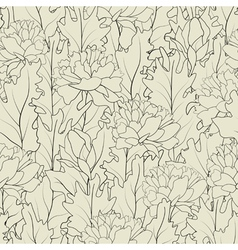 seamless of a outline peonies and leafs vector image