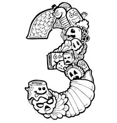 doodle number 3 vector image