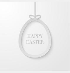 Easter greeting card with hanging paper egg vector