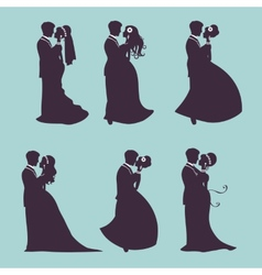 Elegant wedding couples in silhouette vector image vector image