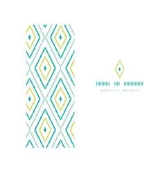 Green ikat diamonds frame horizontal seamless vector