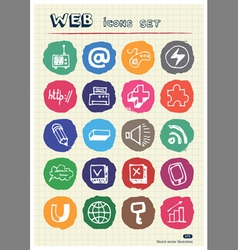 Internet media and network web icons set vector image vector image