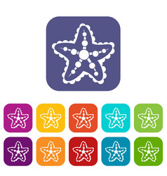 starfish icons set vector image