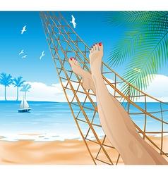 Woman lying in a hammock on the beach vector
