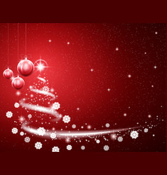 christmas red background with blizzard and stars vector image