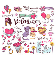 cute valentine doodles vector image vector image