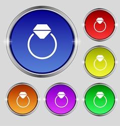 Diamond engagement ring icon sign round symbol on vector