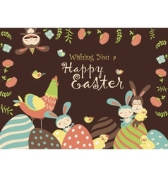 Easter chickenbunny and easter eggs vector image vector image