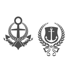 Marine anchors with ribbons and laurel wreathes vector
