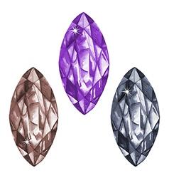 Marquis cut watercolour gems set vector image vector image