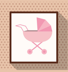 pink baby carriage polka dots background vector image