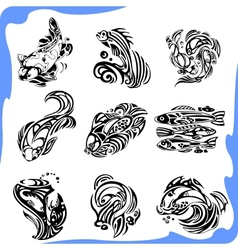 Abstract fish - set vector