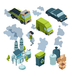 Air pollution isometric factory bad environment vector