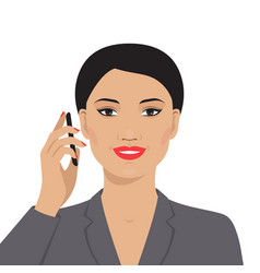 Asian businesswoman talking on the mobile phone vector
