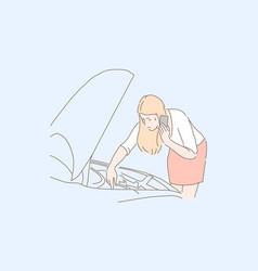 Automobile breakdown car problem emergency vector