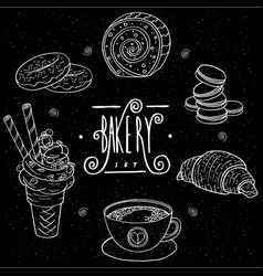Bakery set in handmade chalk board style vector