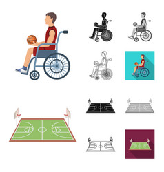 basketball and attributes cartoonblackflat vector image