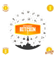 Bitcoin bage set digital money blockchain vector