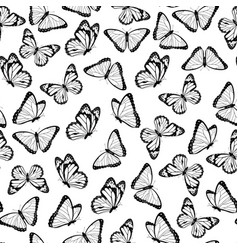 Black and white flying butterflies pattern vector