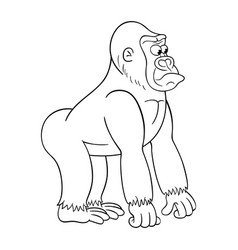 black and white of cartoon gorilla vector image