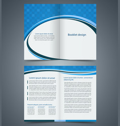 Blue bifold brochure template design vector